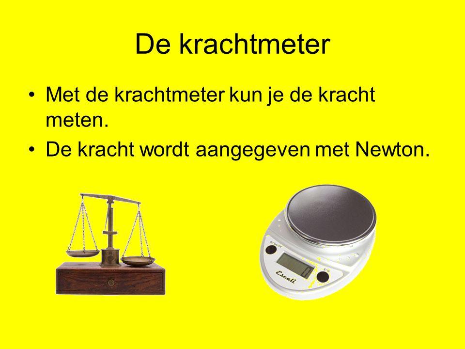 Met de krachtmeter kun je de kracht meten. De kracht wordt aangegeven met Newton. De krachtmeter