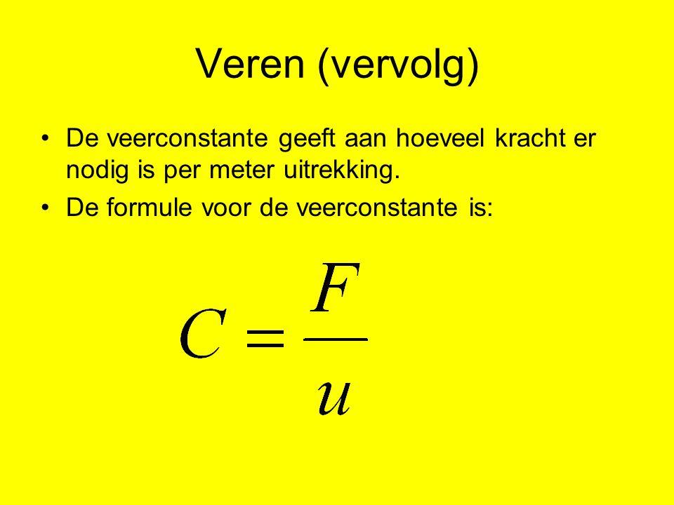 Veren (vervolg) De veerconstante geeft aan hoeveel kracht er nodig is per meter uitrekking. De formule voor de veerconstante is: