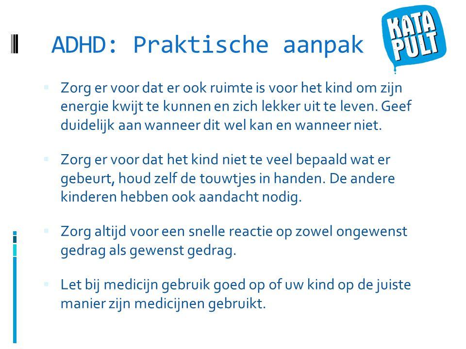 ADHD: Praktische aanpak  Zorg er voor dat er ook ruimte is voor het kind om zijn energie kwijt te kunnen en zich lekker uit te leven.
