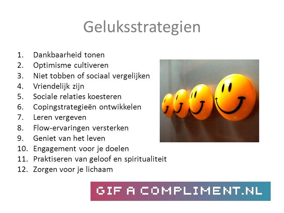Geluksstrategien 1.Dankbaarheid tonen 2.Optimisme cultiveren 3.Niet tobben of sociaal vergelijken 4.Vriendelijk zijn 5.Sociale relaties koesteren 6.Co