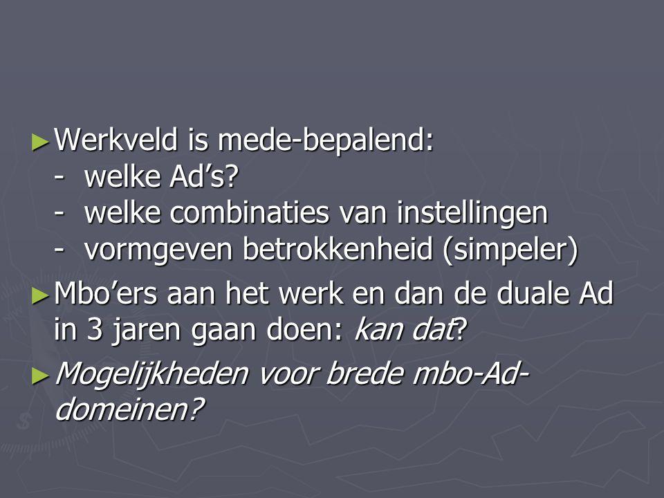 ► Werkveld is mede-bepalend: - welke Ad's? - welke combinaties van instellingen - vormgeven betrokkenheid (simpeler) ► Mbo'ers aan het werk en dan de