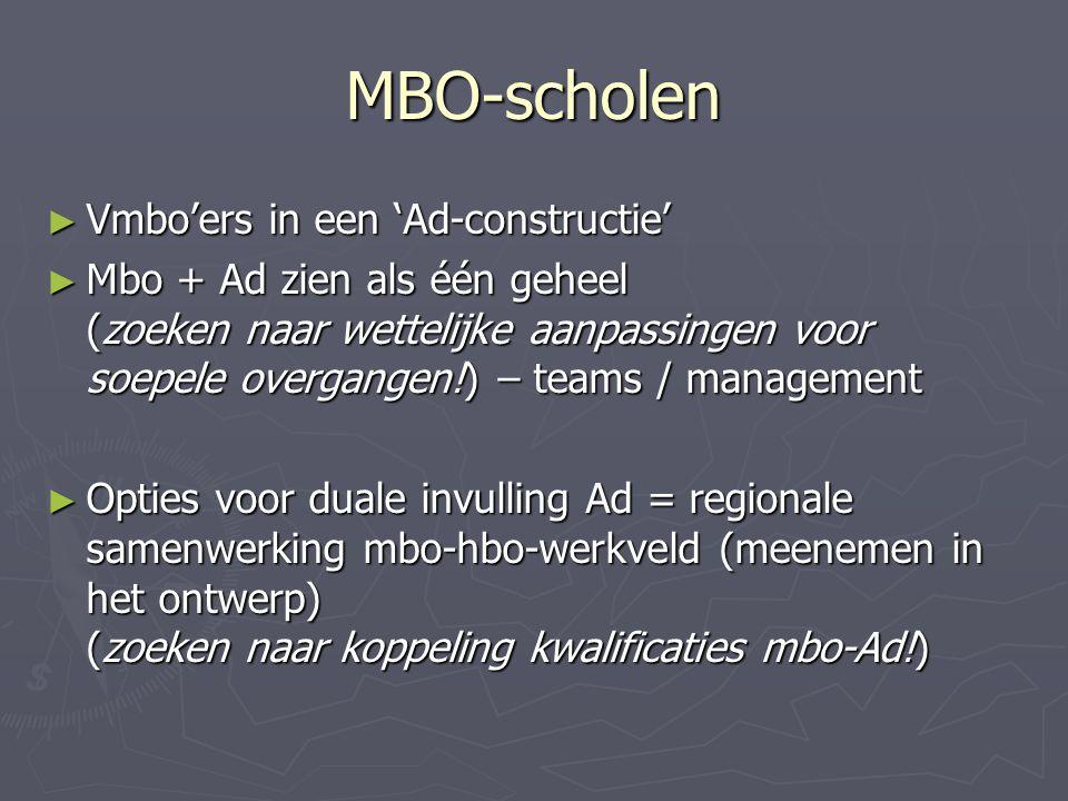 MBO-scholen ► Vmbo'ers in een 'Ad-constructie' ► Mbo + Ad zien als één geheel (zoeken naar wettelijke aanpassingen voor soepele overgangen!) – teams /