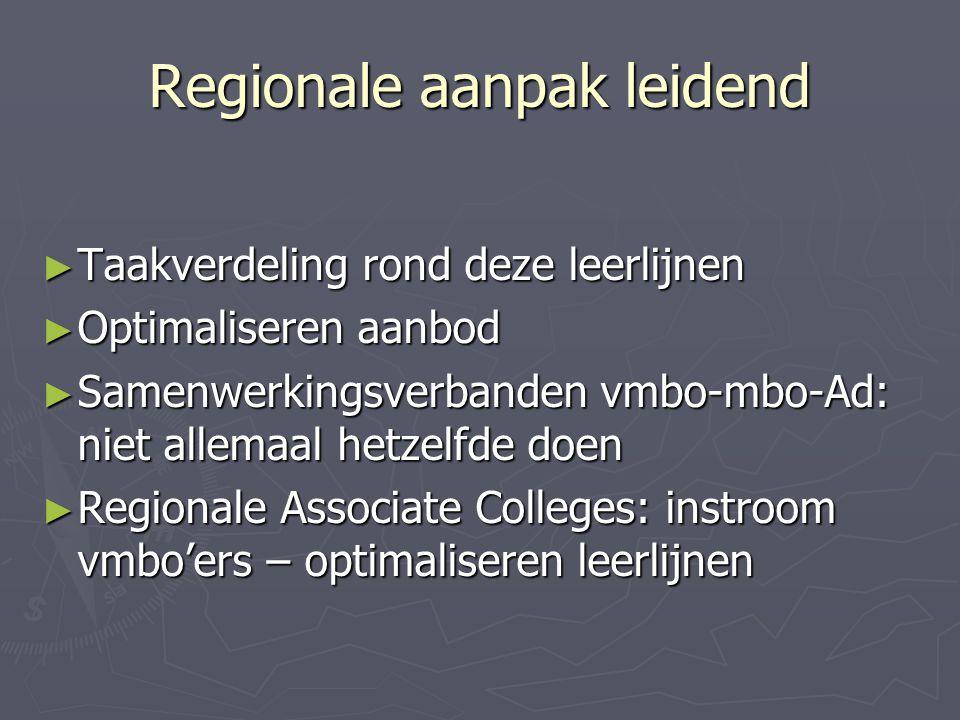 Regionale aanpak leidend ► Taakverdeling rond deze leerlijnen ► Optimaliseren aanbod ► Samenwerkingsverbanden vmbo-mbo-Ad: niet allemaal hetzelfde doe