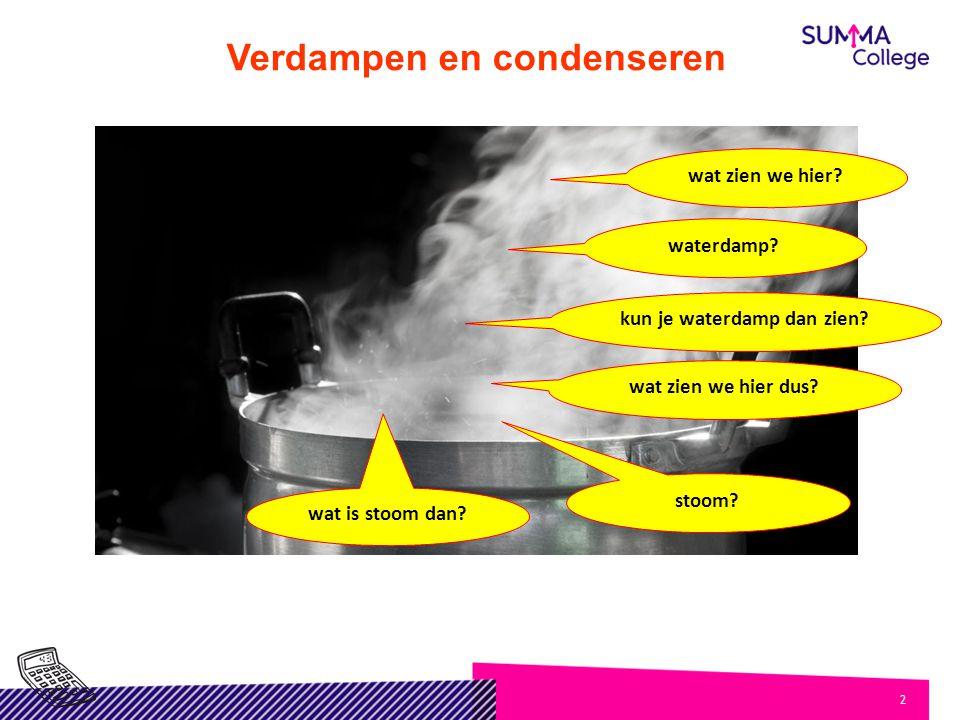 2 Verdampen en condenseren wat zien we hier? waterdamp? kun je waterdamp dan zien? wat zien we hier dus? stoom? wat is stoom dan?
