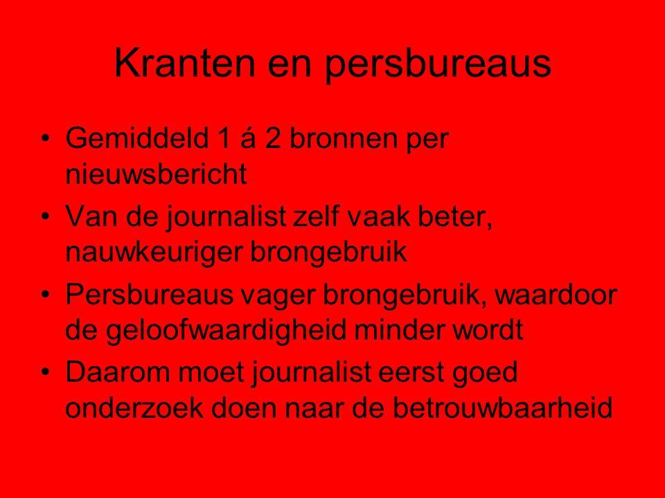 Kranten en persbureaus Meeste berichten komen van het Algemeen Nederlands Persbureau Het ANP brengt Nederlands nieuws Reuters voornamelijk buitenlands nieuws en financieel nieuws Novum nieuws brengt meer shownieuws Sommige media prefereren Novum omdat het goedkoper en flexibeler is, maar wel minder compleet