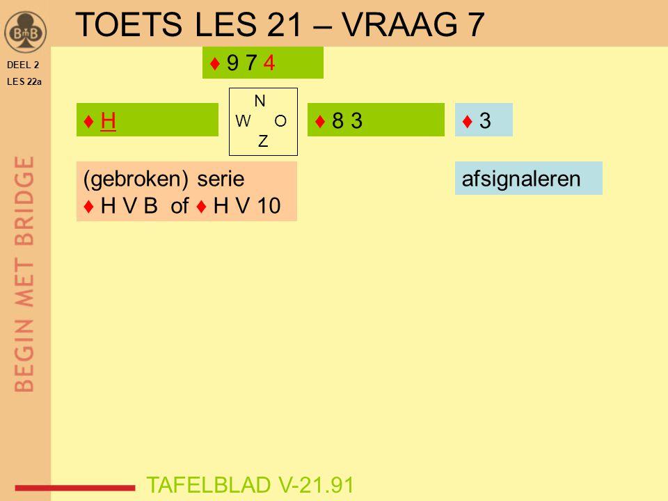 DEEL 2 LES 22a N W O Z ♦ H♦ H TAFELBLAD V-21.91 ♦ 8 3 ♦ 9 7 4 ♦ ? TOETS LES 21 – VRAAG 7 ♦ 3 (gebroken) serie ♦ H V B of ♦ H V 10 afsignaleren