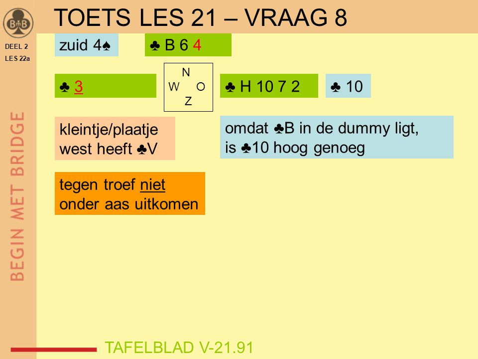 DEEL 2 LES 22a N W O Z ♣ 3 TAFELBLAD V-21.91 ♣ H 10 7 2 ♣ B 6 4 ♣ ? zuid 4♠ TOETS LES 21 – VRAAG 8 ♣ 10 omdat ♣B in de dummy ligt, is ♣10 hoog genoeg