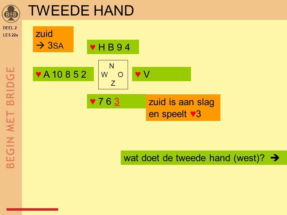 DEEL 2 LES 22a ♥ A 10 8 5 2 ♥ H B 9 4 ♥ V N W O Z ♥ 7 6 3 wat doet de tweede hand (west)?  zuid is aan slag en speelt ♥3 TWEEDE HAND zuid  3 SA