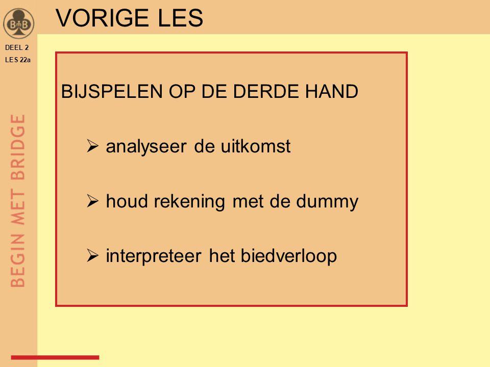 DEEL 2 LES 22a BIJSPELEN OP DE DERDE HAND  analyseer de uitkomst  houd rekening met de dummy  interpreteer het biedverloop VORIGE LES