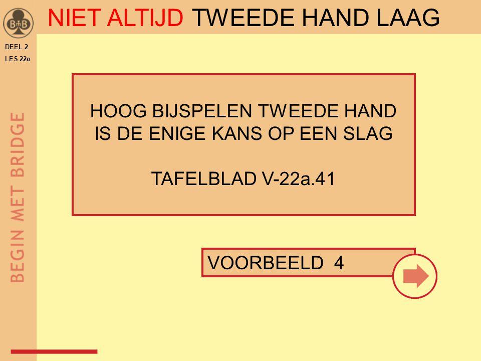 DEEL 2 LES 22a HOOG BIJSPELEN TWEEDE HAND IS DE ENIGE KANS OP EEN SLAG TAFELBLAD V-22a.41 VOORBEELD 4 NIET ALTIJD TWEEDE HAND LAAG