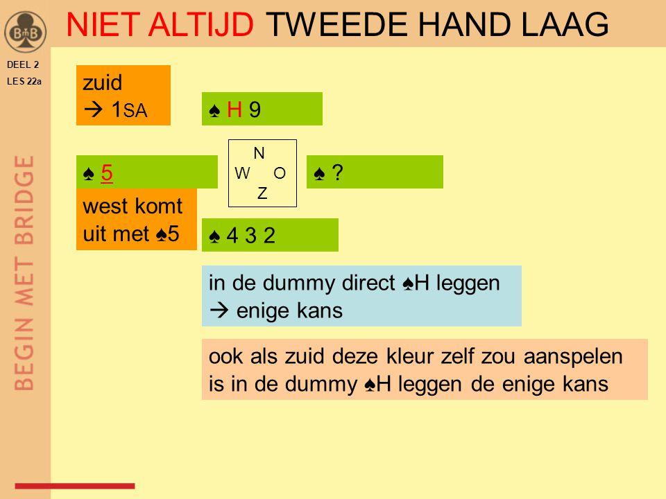 DEEL 2 LES 22a ♠ 5♠ 5♠ ?♠ ? ♠ 4 3 2 ♠ H 9 N W O Z in de dummy direct ♠H leggen  enige kans ook als zuid deze kleur zelf zou aanspelen is in de dummy