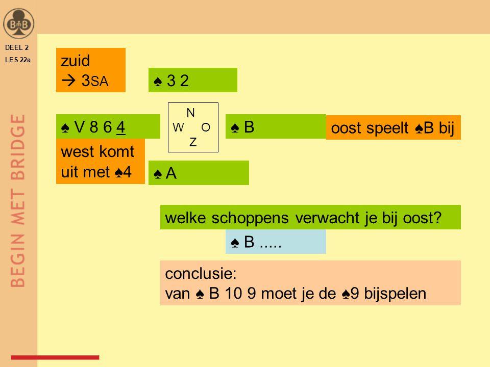 DEEL 2 LES 22a ♠ V 8 6 4♠ B♠ B ♠ A♠ A ♠ 3 2 N W O Z ♠ B..... welke schoppens verwacht je bij oost? zuid  3 SA west komt uit met ♠4 oost speelt ♠B bij