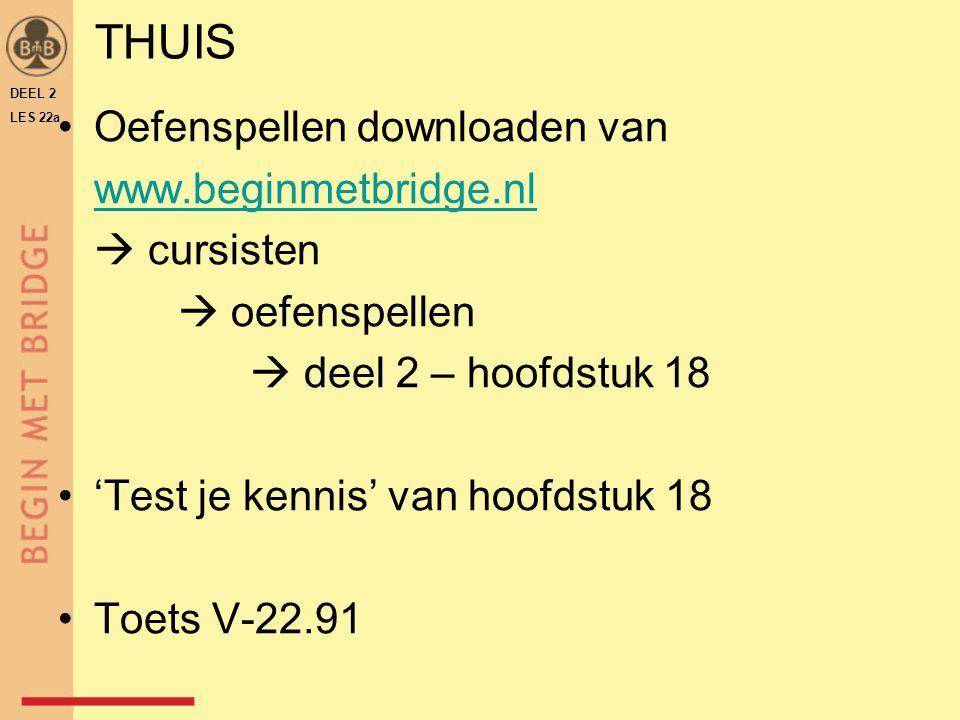 THUIS Oefenspellen downloaden van www.beginmetbridge.nl  cursisten  oefenspellen  deel 2 – hoofdstuk 18 'Test je kennis' van hoofdstuk 18 Toets V-2