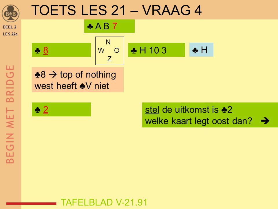 DEEL 2 LES 22a N W O Z ♣ 8 TAFELBLAD V-21.91 ♣ H 10 3 ♣ A B 7 ♣ ? TOETS LES 21 – VRAAG 4 ♣ H ♣8  top of nothing west heeft ♣V niet ♣ 2stel de uitkoms