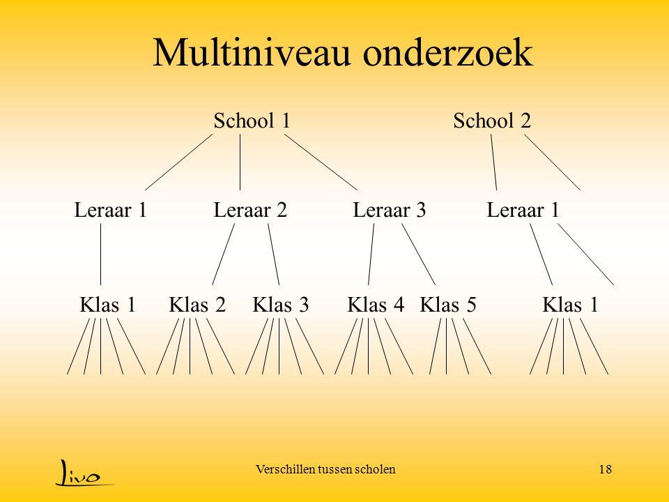Verschillen tussen scholen18 Multiniveau onderzoek School 1School 2 Leraar 1Leraar 2Leraar 3Leraar 1 Klas 1Klas 2Klas 3Klas 4Klas 5Klas 1