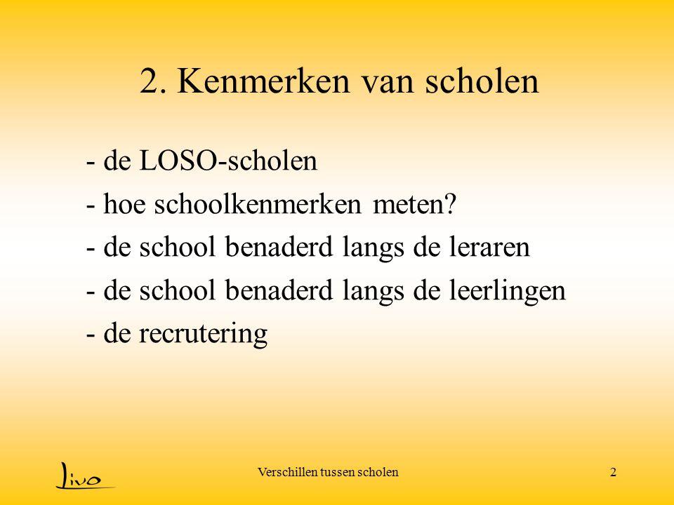 Verschillen tussen scholen2 2. Kenmerken van scholen - de LOSO-scholen - hoe schoolkenmerken meten? - de school benaderd langs de leraren - de school