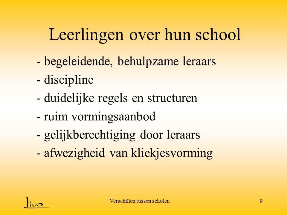 Verschillen tussen scholen9 Leerlingen over hun school - begeleidende, behulpzame leraars - discipline - duidelijke regels en structuren - ruim vormin