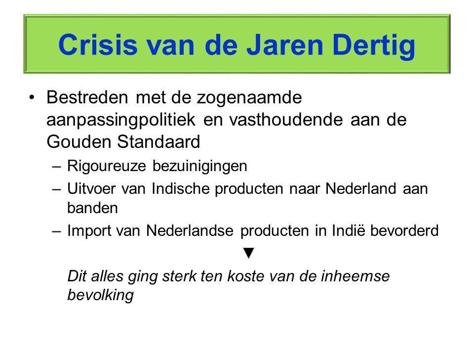 Crisis van de Jaren Dertig Bestreden met de zogenaamde aanpassingpolitiek en vasthoudende aan de Gouden Standaard –Rigoureuze bezuinigingen –Uitvoer v