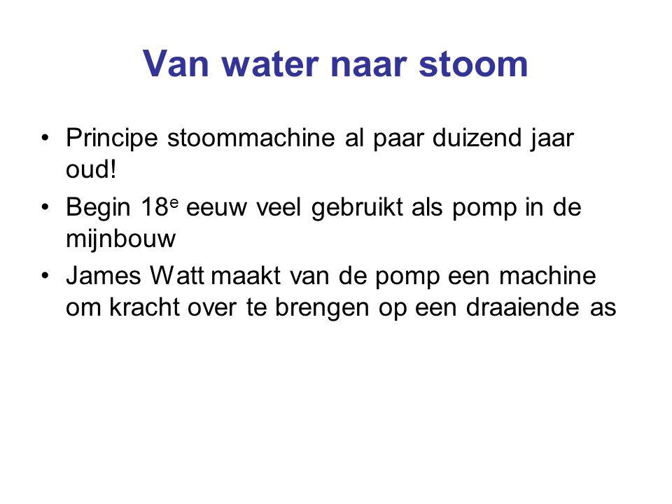 Van water naar stoom Principe stoommachine al paar duizend jaar oud! Begin 18 e eeuw veel gebruikt als pomp in de mijnbouw James Watt maakt van de pom