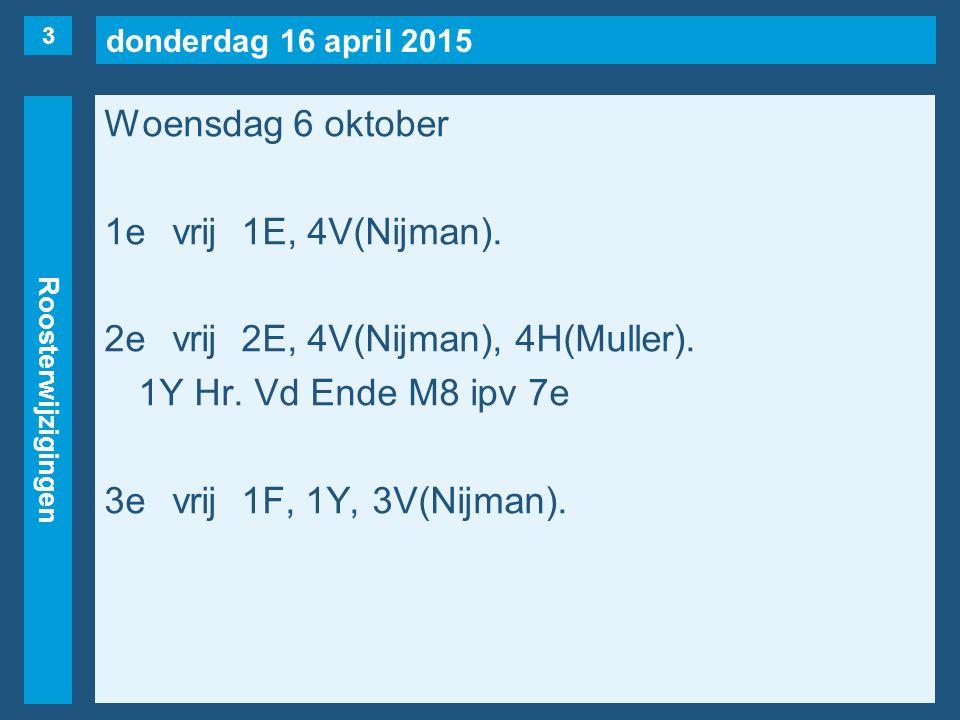 donderdag 16 april 2015 Roosterwijzigingen Woensdag 6 oktober 1evrij1E, 4V(Nijman). 2evrij2E, 4V(Nijman), 4H(Muller). 1Y Hr. Vd Ende M8 ipv 7e 3evrij1