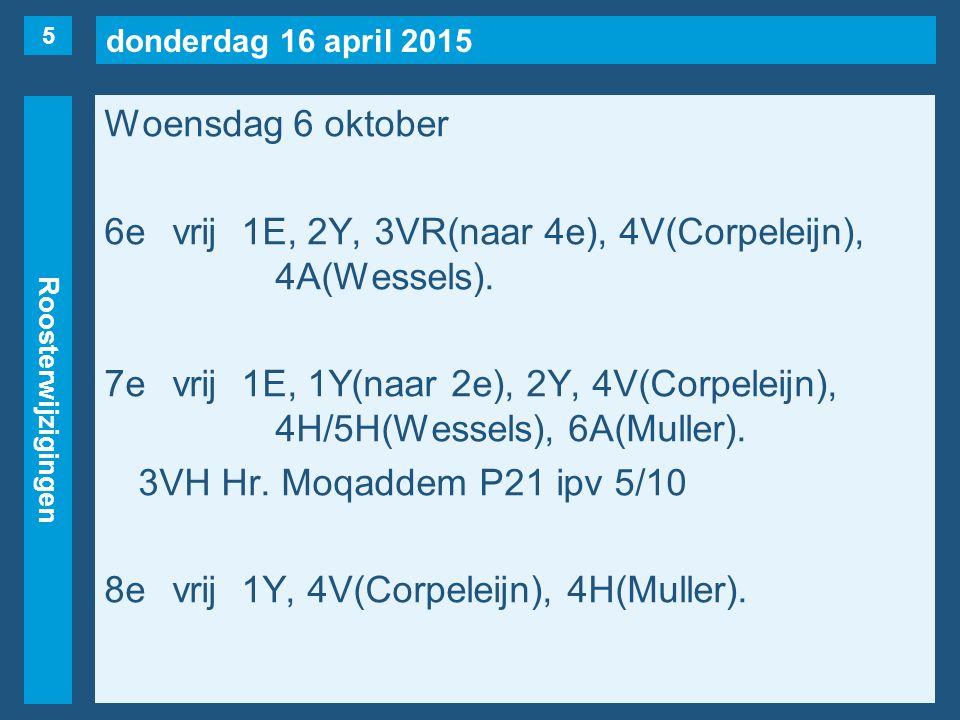 donderdag 16 april 2015 Roosterwijzigingen Woensdag 6 oktober 6evrij1E, 2Y, 3VR(naar 4e), 4V(Corpeleijn), 4A(Wessels). 7evrij1E, 1Y(naar 2e), 2Y, 4V(C