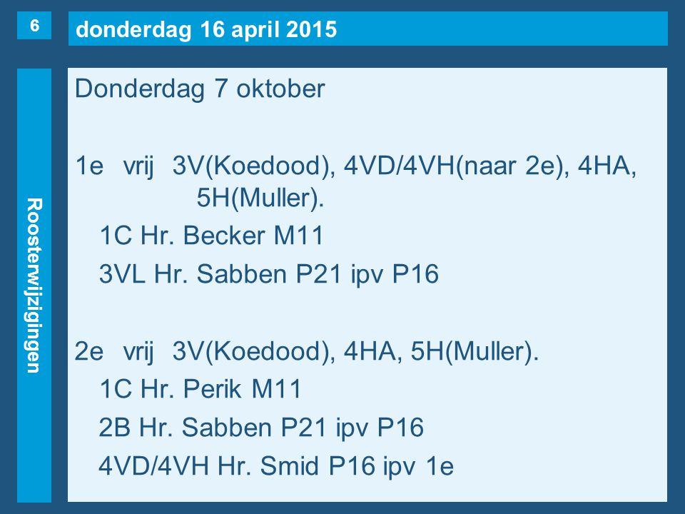 donderdag 16 april 2015 Roosterwijzigingen Donderdag 7 oktober 1evrij3V(Koedood), 4VD/4VH(naar 2e), 4HA, 5H(Muller).