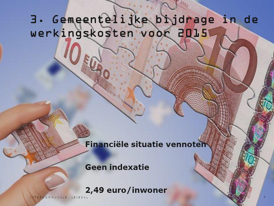 3. Gemeentelijke bijdrage in de werkingskosten voor 2015 Financiële situatie vennoten Geen indexatie 2,49 euro/inwoner INTERCOMMUNALE LEIEDAL 7