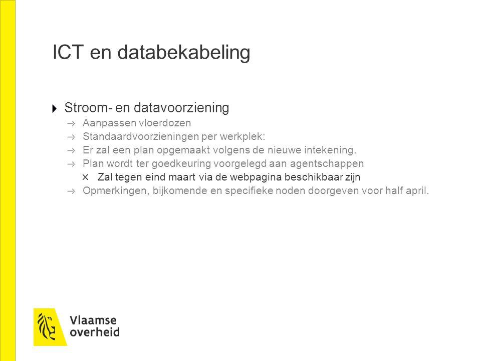 ICT en databekabeling Stroom- en datavoorziening Aanpassen vloerdozen Standaardvoorzieningen per werkplek: Er zal een plan opgemaakt volgens de nieuwe intekening.