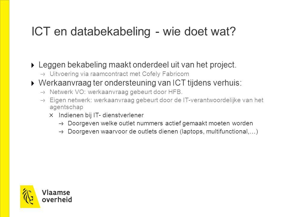 ICT en databekabeling - wie doet wat? Leggen bekabeling maakt onderdeel uit van het project. Uitvoering via raamcontract met Cofely Fabricom Werkaanvr