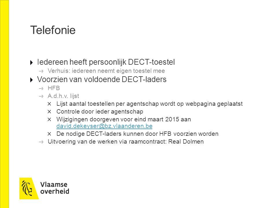 Telefonie Iedereen heeft persoonlijk DECT-toestel Verhuis: iedereen neemt eigen toestel mee Voorzien van voldoende DECT-laders HFB A.d.h.v. lijst Lijs