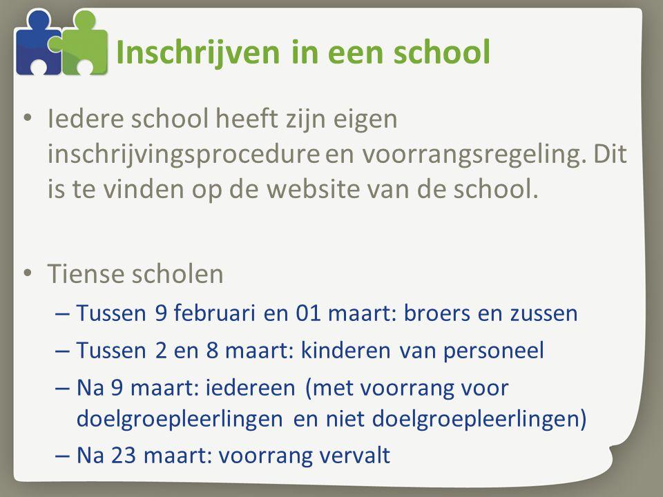Inschrijven in een school Iedere school heeft zijn eigen inschrijvingsprocedure en voorrangsregeling. Dit is te vinden op de website van de school. Ti