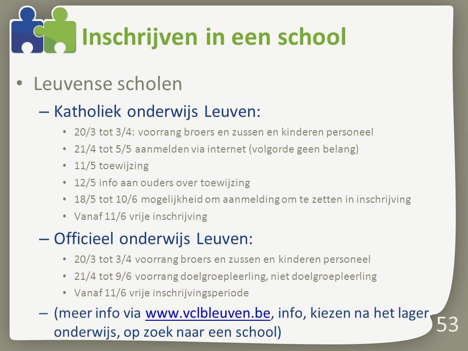 Inschrijven in een school Leuvense scholen – Katholiek onderwijs Leuven: 20/3 tot 3/4: voorrang broers en zussen en kinderen personeel 21/4 tot 5/5 aa