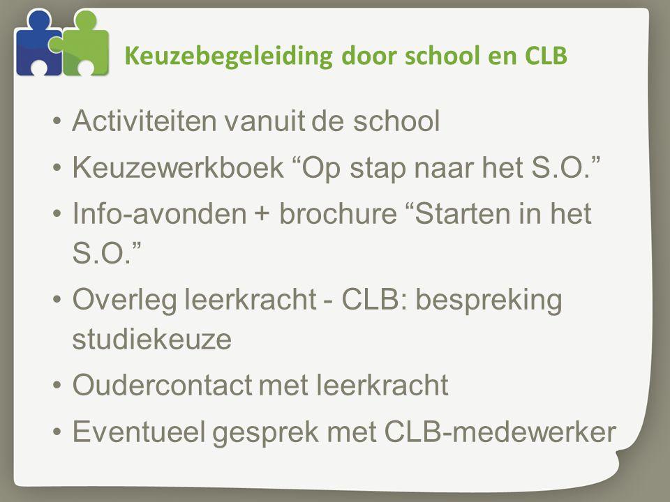 """Keuzebegeleiding door school en CLB Activiteiten vanuit de school Keuzewerkboek """"Op stap naar het S.O."""" Info-avonden + brochure """"Starten in het S.O."""""""