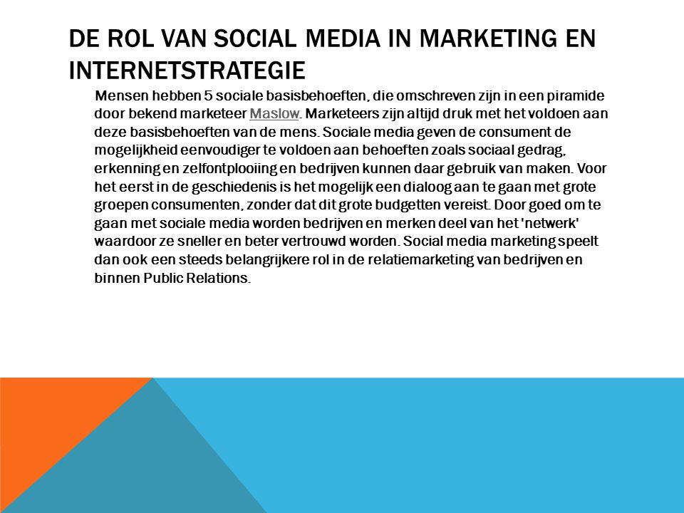DE ROL VAN SOCIAL MEDIA IN MARKETING EN INTERNETSTRATEGIE Mensen hebben 5 sociale basisbehoeften, die omschreven zijn in een piramide door bekend mark