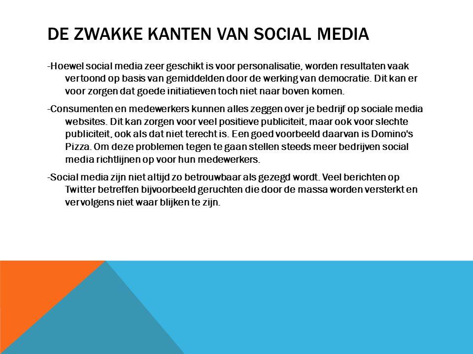 DE ZWAKKE KANTEN VAN SOCIAL MEDIA -Hoewel social media zeer geschikt is voor personalisatie, worden resultaten vaak vertoond op basis van gemiddelden