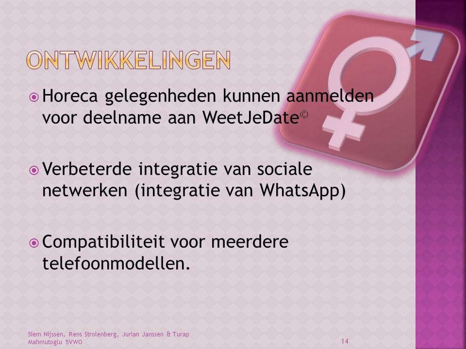 Siem Nijssen, Rens Strolenberg, Jurian Janssen & Turap Mahmutoglu 5VWO 14  Horeca gelegenheden kunnen aanmelden voor deelname aan WeetJeDate ©  Verbeterde integratie van sociale netwerken (integratie van WhatsApp)  Compatibiliteit voor meerdere telefoonmodellen.