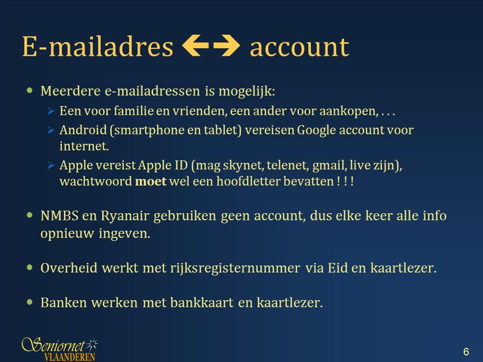 E-mailadres  account Meerdere e-mailadressen is mogelijk:  Een voor familie en vrienden, een ander voor aankopen,...  Android (smartphone en table