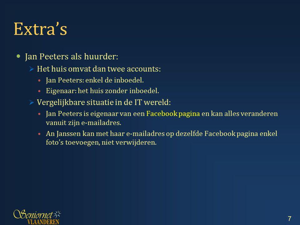 Extra's Jan Peeters als huurder:  Het huis omvat dan twee accounts: Jan Peeters: enkel de inboedel. Eigenaar: het huis zonder inboedel.  Vergelijkba