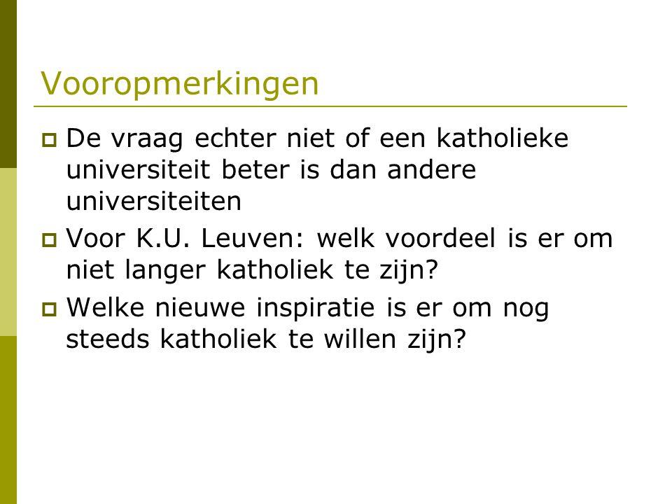 Vooropmerkingen  De vraag echter niet of een katholieke universiteit beter is dan andere universiteiten  Voor K.U. Leuven: welk voordeel is er om ni
