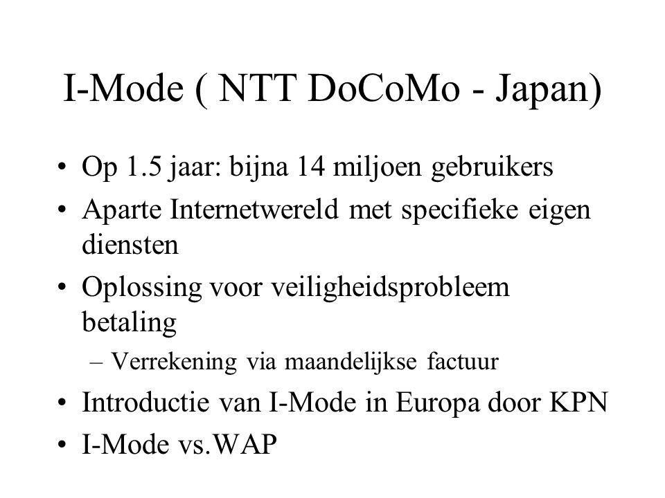 I-Mode ( NTT DoCoMo - Japan) Op 1.5 jaar: bijna 14 miljoen gebruikers Aparte Internetwereld met specifieke eigen diensten Oplossing voor veiligheidsprobleem betaling –Verrekening via maandelijkse factuur Introductie van I-Mode in Europa door KPN I-Mode vs.WAP