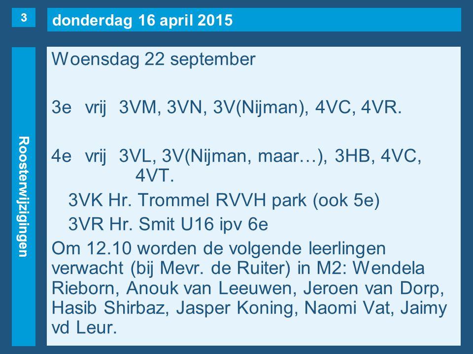 donderdag 16 april 2015 Roosterwijzigingen Woensdag 22 september 3evrij3VM, 3VN, 3V(Nijman), 4VC, 4VR.