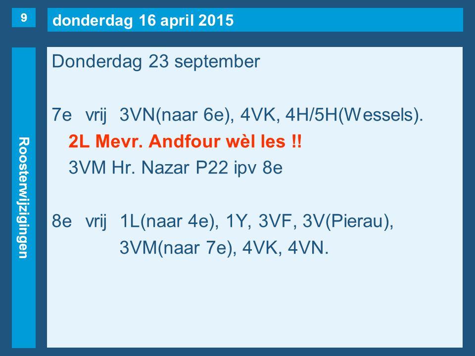 donderdag 16 april 2015 Roosterwijzigingen Donderdag 23 september 7evrij3VN(naar 6e), 4VK, 4H/5H(Wessels).