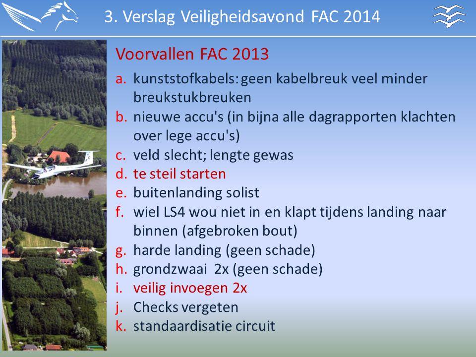 Voorvallen FAC 2013 3. Verslag Veiligheidsavond FAC 2014 a.kunststofkabels: geen kabelbreuk veel minder breukstukbreuken b.nieuwe accu's (in bijna all