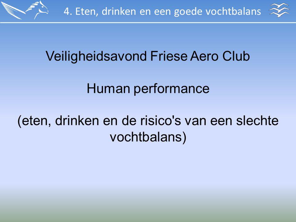 Veiligheidsavond Friese Aero Club Human performance (eten, drinken en de risico's van een slechte vochtbalans) 4. Eten, drinken en een goede vochtbala