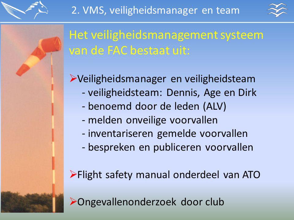Het veiligheidsmanagement systeem van de FAC bestaat uit:  Veiligheidsmanager en veiligheidsteam - veiligheidsteam: Dennis, Age en Dirk - benoemd doo