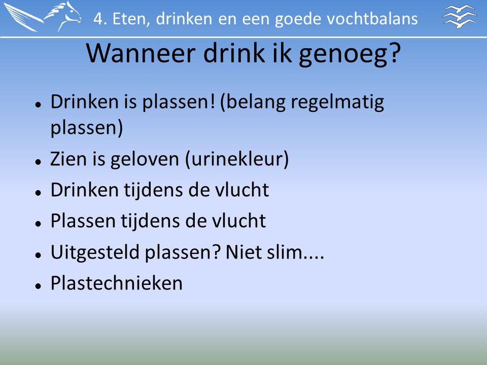 Wanneer drink ik genoeg? Drinken is plassen! (belang regelmatig plassen) Zien is geloven (urinekleur) Drinken tijdens de vlucht Plassen tijdens de vlu