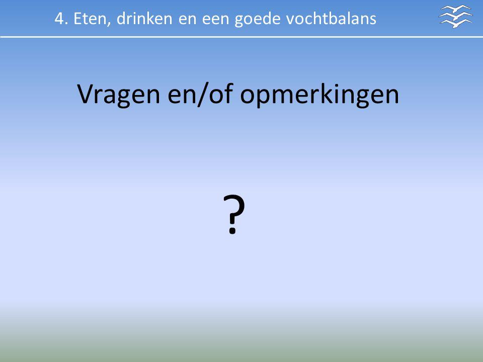 Vragen en/of opmerkingen ? 4. Eten, drinken en een goede vochtbalans