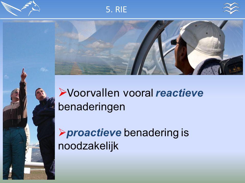  Voorvallen vooral reactieve benaderingen  proactieve benadering is noodzakelijk 5. RIE