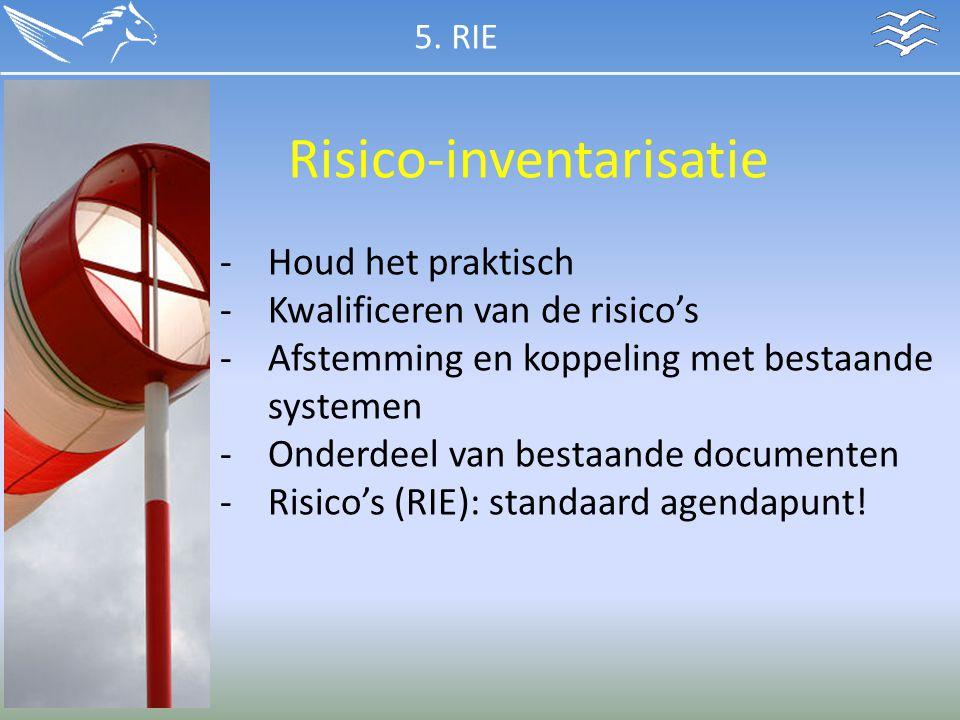 Risico-inventarisatie -Houd het praktisch -Kwalificeren van de risico's -Afstemming en koppeling met bestaande systemen -Onderdeel van bestaande docum
