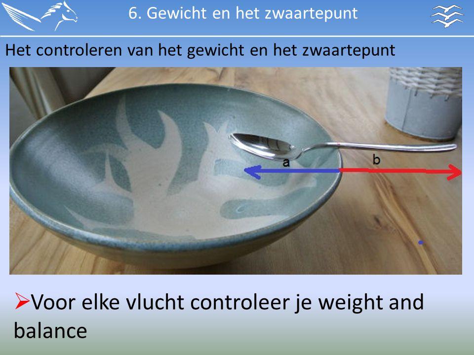 Het controleren van het gewicht en het zwaartepunt  Voor elke vlucht controleer je weight and balance 6. Gewicht en het zwaartepunt